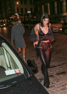 >Kendall Jenner< in >Leather< ~ Mr.Chow in New York City