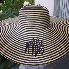 Monogrammed Striped Floppy Beach Hat... For the beach or for living my lifelong dream of going to the Kentucky Derby