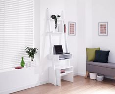 Aurelius wooden ladder desk in white with desk stool - 46280 home & office computer desk table, modern & contemporary. Storage with drawers, white high. Desk Stool, Desk And Chair Set, Modern Corner Desk, Ladder Desk, Wooden Ladder, Dressing Table Desk, Upholstered Bed Frame, Desk Areas