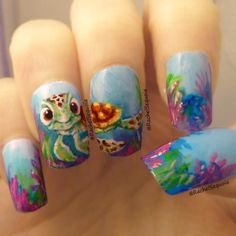 No no no just stop haha ain't nobody got time for that. It looks like Pixar animated this b*tch's nails. I can't even paint a line on my nails without wanting to erase it.