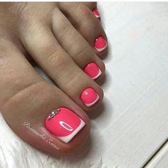 21 ideas french pedicure ideas summer pretty toes for 2019 Pretty Toe Nails, Cute Toe Nails, Fancy Nails, Trendy Nails, My Nails, Pretty Toes, Pretty Pedicures, Toe Nail Color, Toe Nail Art