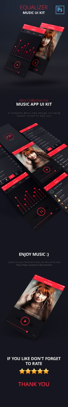 Equalizer – Music App UI Kit PSD is the premium version of the new standard music player. The screens are complete retina ready optimized for iPhone 6s (iOS 9). PSD's are grouped and properly named. With a basic Photoshop knowledge you can easily change c…