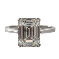 GIA Cert 4.12 Carat Emerald Cut Diamond Engagement Ring | From a unique collection of vintage bridal rings at https://www.1stdibs.com/jewelry/rings/bridal-rings/