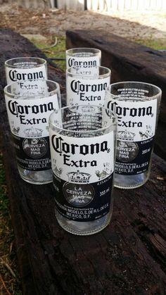 2 Upcycled corona beer glass for 10 Dollars Coronas Corona Extra Corona light Corona bottle Corona glasses Bottle recycling beer bottles by 9Beers on Etsy