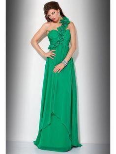 Chiffon Flowers One Shoulder Green Prom Dress