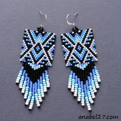 EARRINGS AND A LOT OF PEYOTE PATTERN