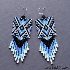 Схема серег из бисера - мозаичное плетение