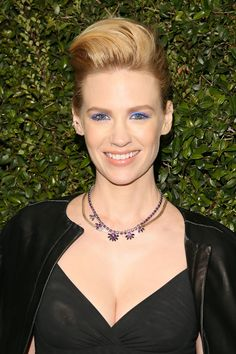 Who: January Jones What: Vivid Blue Eyes How-To: The actress is a risk-taker on the red carpet and she's at her best when she's going bold with both her hair and makeup. We love the way her neon blue liner enhances her eye color and plays off the purple jewels.  Editor's Pick: Yves Saint Laurent Long-Lasting Waterproof Eye Pencil in Azure Blue, $30, sephora.com.   - HarpersBAZAAR.com