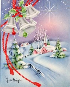 Vintage Christmas Greeting Card                              …