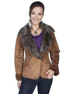 Scully Western Jacket Womens Long Sleeve Very Soft Faux Fur 8002