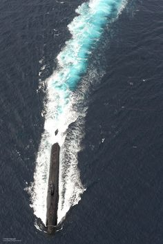 Royal Navy submarine HMS Torbay at speed on the surface during Exercise Deep Blue.