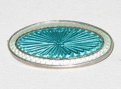 Sterling Silver Guilloche Enamel Pin offered by Ruby Lane Shop, Vintage Jewelry Boutique.