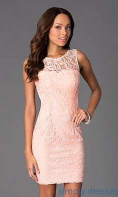 Short Pink Sleeveless Scoop Neck Lace Dress at SimplyDresses.com