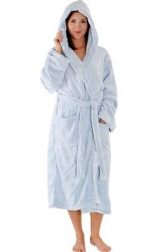 long fleece bath robe with hood