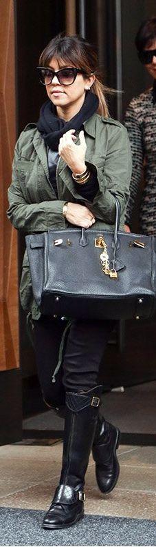 Kourtney Kardashian: Jacket – ASOS  Shirt – Monrow  Pants – Alice & Olivia  Shoes – Chanel  Sunglasses – DITA  Necklace – Jennifer Meyer  Purse – Hermes