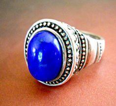 Blue Lapis Ring Sterling Silver Bali Vintage sz by RenaissanceFair