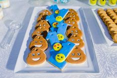 Adam's Emoji-fied Themed Party – Desserts Emoji Theme Party, Party Themes, Party Ideas, Adam S, Emoji Faces, Different Games, Kid Table, Heart For Kids, 1st Birthdays