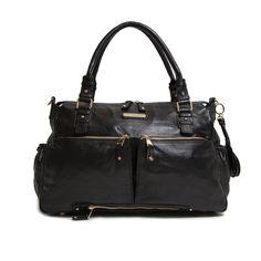 Kerikit Keri Jane Black Leather Baby Changing Bag