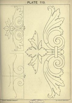 This book is amazing see site for many more - 1895 - Cusack's freehand ornament. A text book with chapters on elements, principles, and methods of freehand drawing, for the general use of teachers and students . by Armstrong, Charles Art Nouveau, Motif Arabesque, Stencils, Ornament Drawing, Wood Carving Patterns, Acanthus, Design Elements, Embroidery Patterns, Coloring Pages