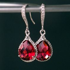 Ruby Red Jeweled Teardrop Earrings in Silver by CJRoseBoutique, $38.00