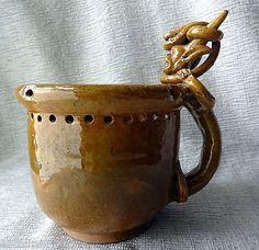 Folk Art Puzzle Mug Pottery Snake Demon Lizard South American Vtg? Comic Devil