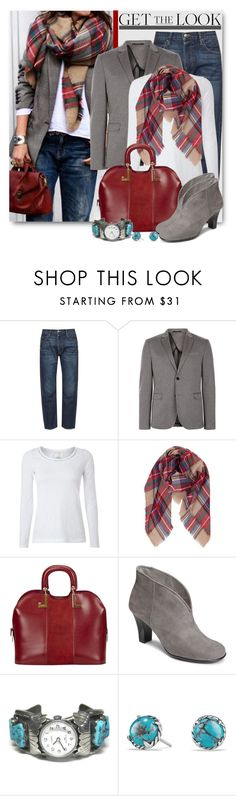"""""""Blazer & Blanket Scarf"""" by brendariley-1 ❤ liked on Polyvore featuring Frame, White Stuff, Humble Chic, Lanvin, A2 by Aerosoles and David Yurman"""