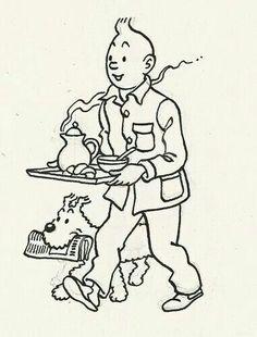 breakfasting - tintin & snowy Tin Tin Cartoon, Herge Tintin, Comic Art, Comic Books, Walt Disney, Ligne Claire, Wire Fox Terrier, Magazine Illustration, Book And Magazine
