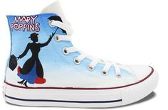 High Top Converse Shoes Mary Poppins Hand Painted Customizable M Custom Converse Shoes, Converse Design, Outfits With Converse, Converse Chuck, Painted Converse, Painted Canvas Shoes, Hand Painted Shoes, Curvy Petite Fashion, Cheap Shoes Online