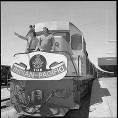 Barry Martin and John K Watts of radio on the Indian-Pacific, 1973 Wa Gov, Diesel Locomotive, Pos, Perth, Australia, Train, Indian, Vintage, Trains