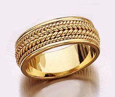 A Beautiful Mens Greek Key Design Wedding Ring In Two Tone 9ct Or