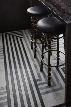 KELLY WEARSTLER X ANN SACKS. 'Liaison Hillcrest' stone patterned tiles