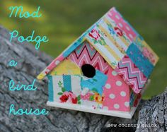 Decorated and decoupaged bird houses are an easy and fun craft to do with kids in springtime. We have lots of birds in the yard and they often use the birdhouses.