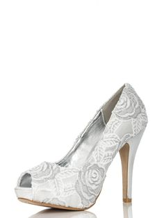 Silver Rose Peep Toe Court Shoes