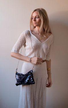 I N D I G O Sequin Shoulder Bag Navy Blue by GiftShopBrooklyn, $88.00