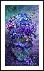 Hydrangeas In Hydrangea Vase Framed Print by Carol Cavalaris