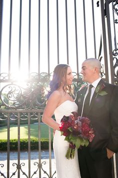 Bride and Groom outside the Conservatory Garden gates