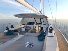 CGI of the cockpit. Amel Yachts, Liveaboard Sailboat, Luxury Sailing Yachts, Sail World, Yacht Builders, Back To The Future, Fighter Jets, Outdoor Living, Tours