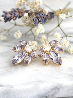 Lilac Gray Earrings Bridal Cluster Earrings Light by iloniti Bridesmaid Earrings, Wedding Earrings, Bridesmaids, Cluster Earrings, Stud Earrings, Lilac Grey, Purple Earrings, Beautiful Earrings, Wedding Jewelry