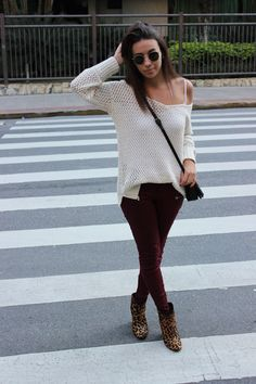 Nanda Pezzi - Tricot + calça marsala + bota oncinha