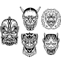 Japanese demonic noh theatrical masks vector
