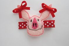 Olivia the Pig Hair Clippie with Red Ear Bows - Ready to Ship. $5.50, via Etsy.