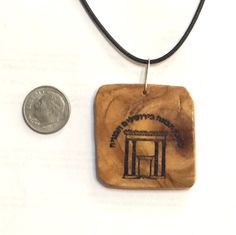 Jerusalem Temple pendant Israeli olive wood by JudaicaBennysArt