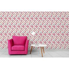 Pink / Coral Geometric Statement Wallpaper - Perfect for a retro bright touch!   Coloroll Echo Coral Wallpaper | SHOP ONLINE