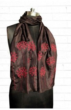 Embroidered silk scarf:  The Luxury Label's Claret Collection for #indianofficewear #indianworkwear #Indianofficefashion #indianformals