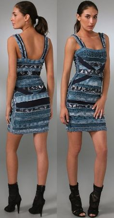 The $2,800 (!) Herve Leger Frayed Denim and Strips of Fabric Dress
