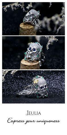 Interchangeable Two Tone Twist Round Cut Ruby Skull Ring #Jeulia