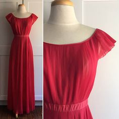 50s/60s Vintage 1960s Red Pleated Chiffon Nightgown Vanity