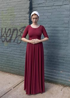 Each dress is handmade in 1 day. Handmaids Tale Dress from the TV show. Wear it as a Halloween Costume and be June from Handmaids Tale. Perfect for Comic Con or Halloween. Made with a soft silk/cotton/ poly blend. Made it your size - optional with no extra charge WATCH A VIDEO OF DRESS