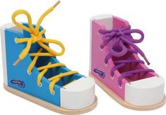 Brightly coloured Wooden Threading Shoes shape with lace (included) to encourage threading skills and then learn to tie a bow. The threading shoes to help children learn how to tie shoelaces! Trains patience and dexterity. Tie Shoelaces, Tie Shoes, Amazon Gifts, Lace Design, Fine Motor Skills, Baby Toys, Wooden Toys, Training, Sneakers