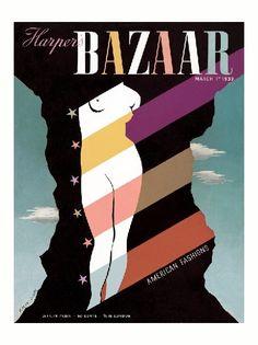 Harper's Bazaar, March (Cover artwork by A M Cassandre) Fashion Magazine Cover, Magazine Cover Design, Magazine Covers, Leave Art, Elsa Schiaparelli, Vintage Magazines, Fashion Magazines, Modern Graphic Design, Harpers Bazaar